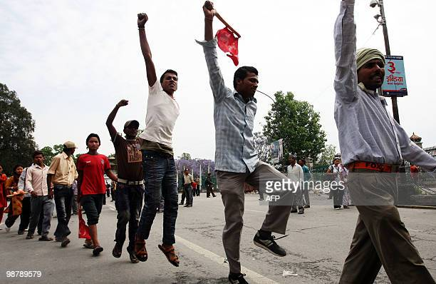 Unified Communist Party of Nepal supporters chant slogans during an indefinite nationwide general strike by Maoist in Kathmandu on May 2 2010 Nepal's...