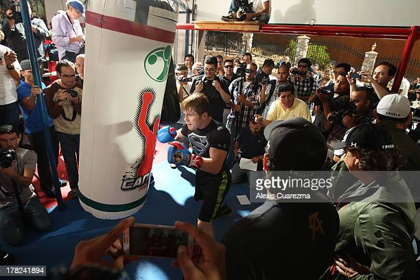 Unified Super Welterweight World Champion Canelo Alvarez holds a media workout on August 27 2013 in Big Bear Lake California