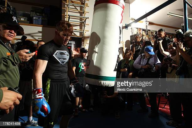 Unified Super Welterweight World Champion Canelo Alvarez practices during a media workout on August 27 2013 in Big Bear Lake California