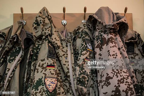 Uniform jackets of German bundeswehr soldiers seen on a coat rack during the visit of German Foreign Minister FrankWalter Steinmeier to ISAF Regional...