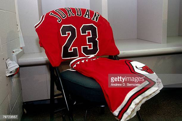 Uniform of Michael Jordan of the Chicago Bulls laid out in front of a locker prior to Game Five of the 1996 NBA Finals against the Seattle...