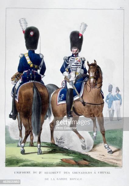 Uniform of the 2nd Regiment of Horse Grenadiers, France, 1823. A print from Collection des Uniformes de L'Armee Francaise presentee au Roi, Paris,...
