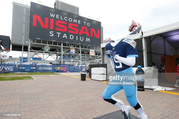 Uniform of the Tennessee Titans is on display at Nissan Stadium as part of the NFL Experience on day 1 of the 2019 NFL Draft on April 25, 2019 in...