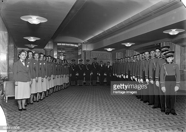 Uniformed staff of the Odeon cinema Leicester Square London 1937 The staff were assembled for this photograph in the foyer on its opening day 2nd...