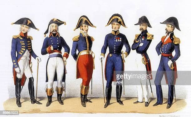 Uniformes of french army Fortified Towns Commanders 1819th century engraving by Charles Vernier