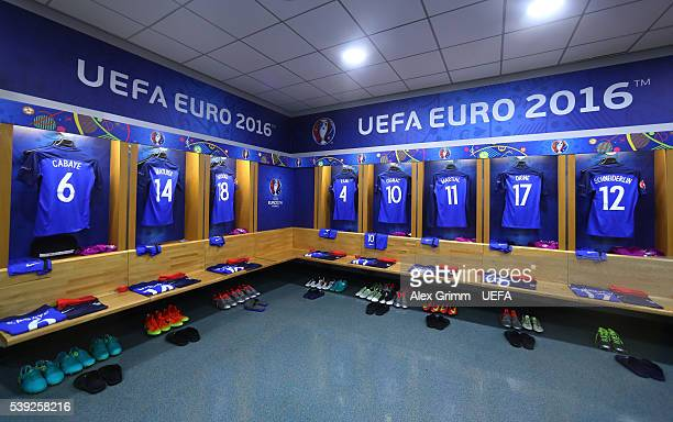 Uniforms are hung in the France dressing room prior to the UEFA Euro 2016 Group A match between France and Romania at Stade de France on June 10 2016...