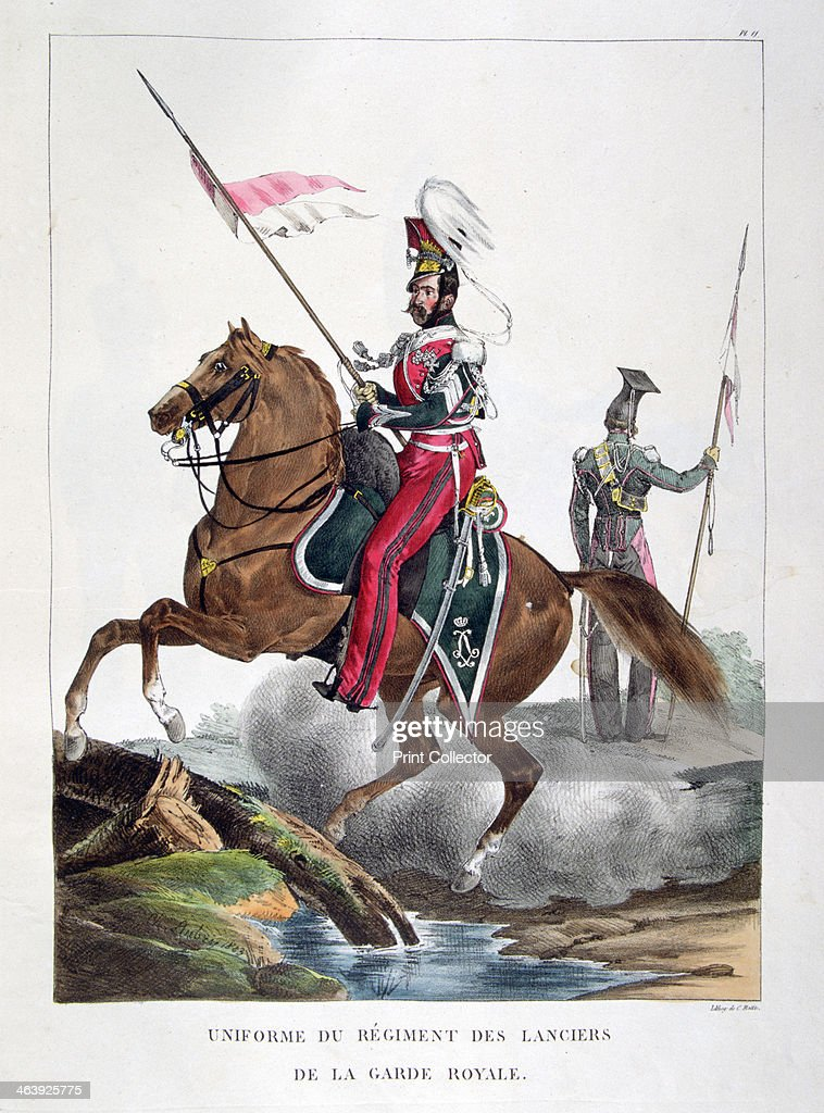 uniforms of a regiment of lancers of the french royal guard 1823