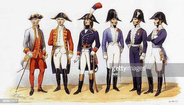 Uniforms of french army Military Administration 1819th century engraving by Charles Vernier