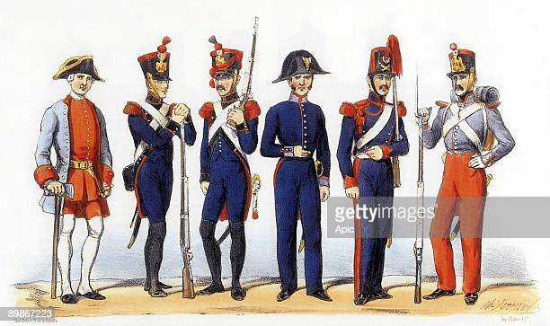 Uniforms of french army Military Crafstmen 1819th century engraving by Charles Vernier