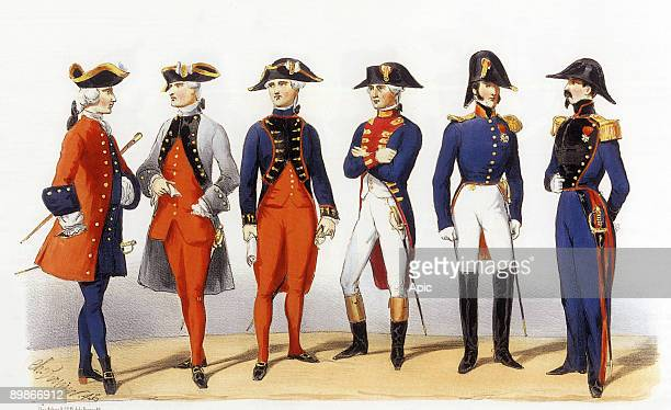 Uniforms of french army Military Engineers 1819th century engraving by Charles Vernier
