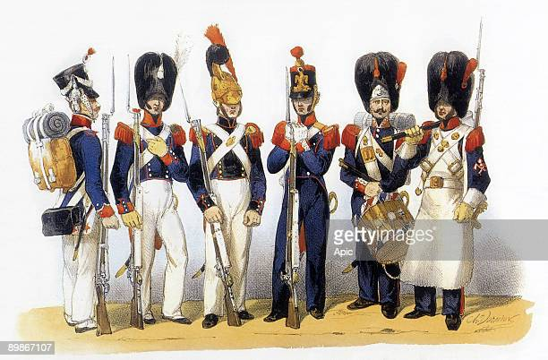 Uniforms of french army National Guard 19th century engraving by Charles Vernier