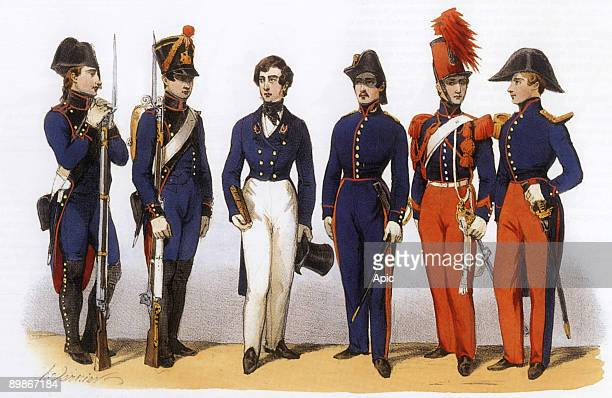 Uniforms of french army Schools Plytechnic General Staff and Cavalry 1819th century engraving by Charles Vernier