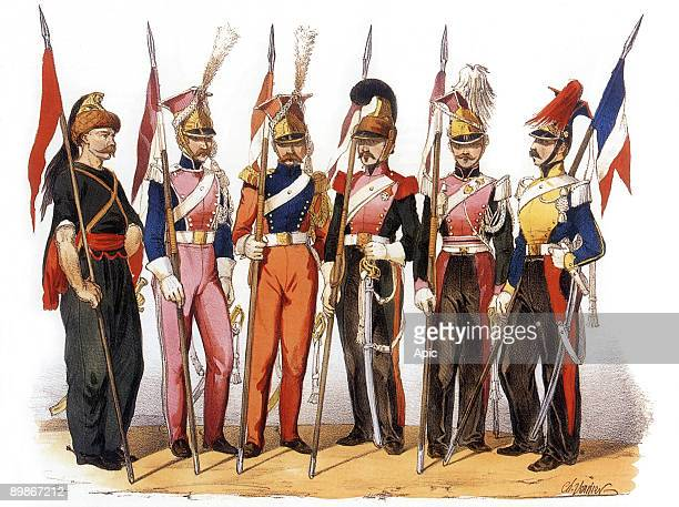 Uniforms of frenchh army Lancers 1819th century engraving by Charles Vernier