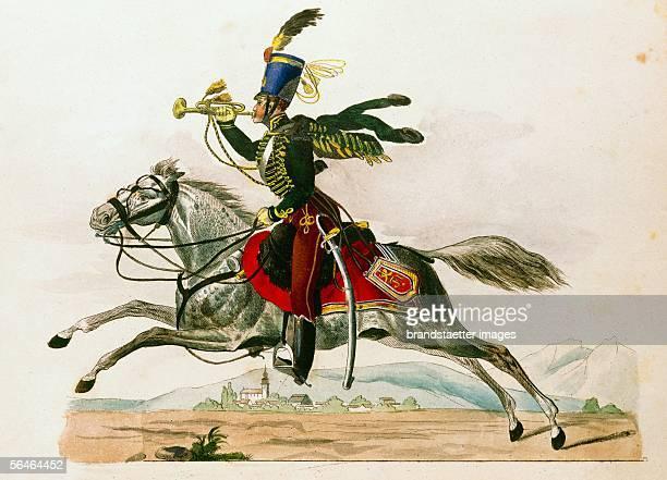 Uniforms of the Austrian Army around 1823 Trumpeter of the Austrian hussars 19th [Uniformen der oesterreichischen Armee um 1823 Trompeter der...