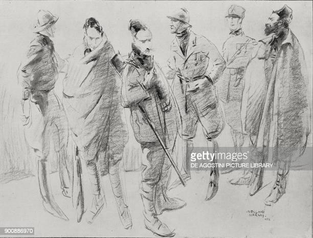 Uniforms of the blackshirts during the fascist mobilization in Modena March on Rome Italy from L'Illustrazione Italiana Year XLIX No 45 November 5...