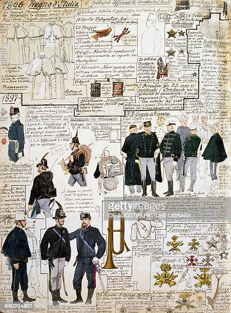 Uniforms of the Kingdom of Italy between 1896 1897 plate from the Cenni Codex collection of military sketches in watercolour 18671917 by Quinto Cenni...