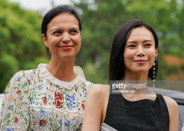 UniFrance General Director Isabelle Giordano and Japanese actress Miki Nakatani attend a photo session during a press conference for the French Film...