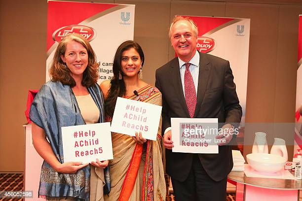 Unilever CEO Paul Polman Help Child Reach 5 ambassador Kajol and Global Director for Mobile Alliance for Maternal Action Kirsten Gagnaire pledge to...