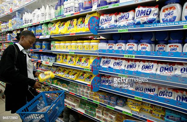 Unilever detergents Lifebouy Omo Sunlight and Geisah line the shelves of a supermarket in Nairobi Kenya on Thursday Nov 1 2007 Unilever the world's...