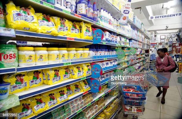 Unilever detergents Lifebouy Omo Sunlight and Geisah line the shelves of a supermarket in Nairobi Kenya on Thursday Nov 1 2007 Unilever the world's...