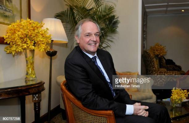 Unilever Global CEO Paul Polman poses during an exclusive interview with Hindustan Times at Taj Palace on February 3 2015 in New Delhi India