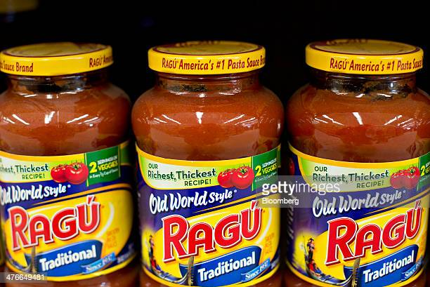 Unilever's Ragu brand pasta sauce sits on display in a supermarket in Princeton Illinois US on Tuesday March 4 2014 Unilever the world's...