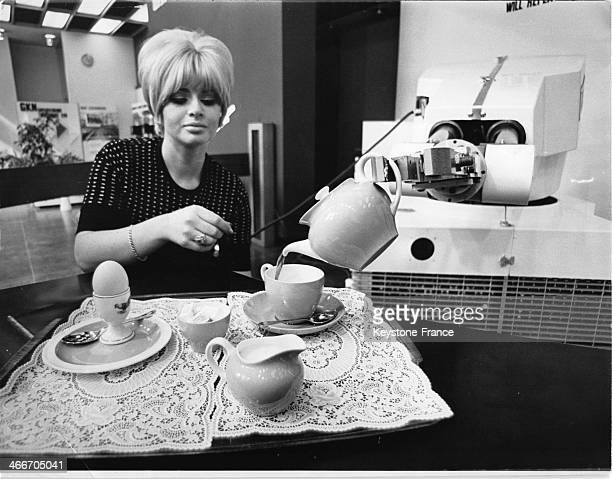 'Unimate X' is a new automation machine with stimulated waist shoulder elbow wrist and finger movements it can pick up an egg and pour a cup of tea...