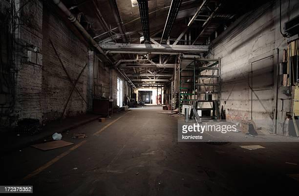Uninviting and dark warehouse hall