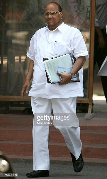 Union Agriculture and Food Minister Sharad Pawar coming Out After attending the Cabinet Meeting at PM Office in New Delhi on Friday