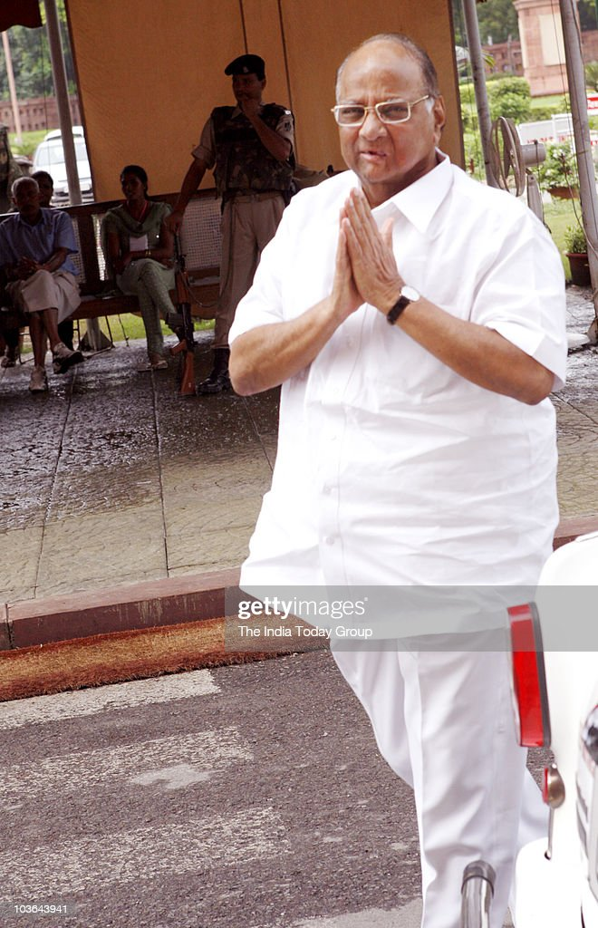 Union Agriculture Minister Sharad Pawar outside Parliament ...