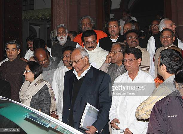 Union Agriculture Minister Sharad Pawar Union Civil Aviation Minister Ajit Singh Janta Dal leaders Sharad Yadav Ranjan Prasad and other MPs comes out...