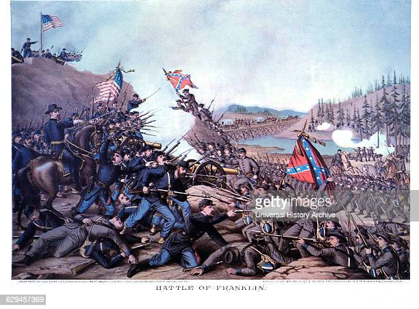 Union and Confederate Troops During Civil War Battle of Franklin Tennessee November 30 1864