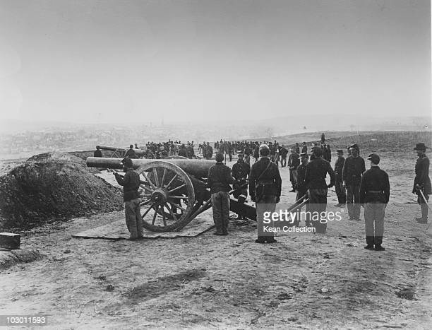 A Union Army battery makes final preparations on the day before the Battle of Fredericksburg on Marye's Heights Virginia USA December 1862