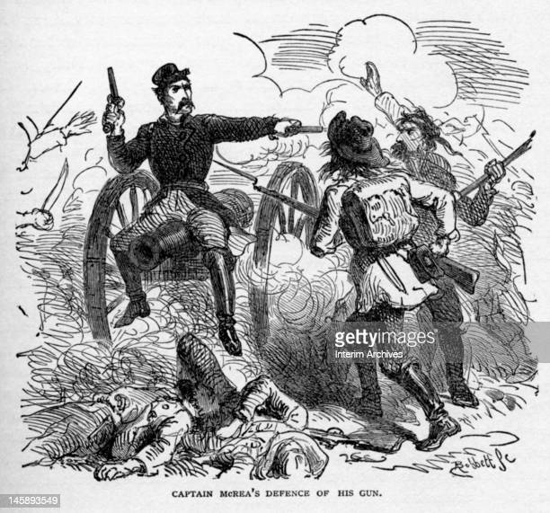 Union Army Captain Alexander McRae who commanded an artillery battery fights against the Texan Army at the Battle of Valverde New Mexico February...