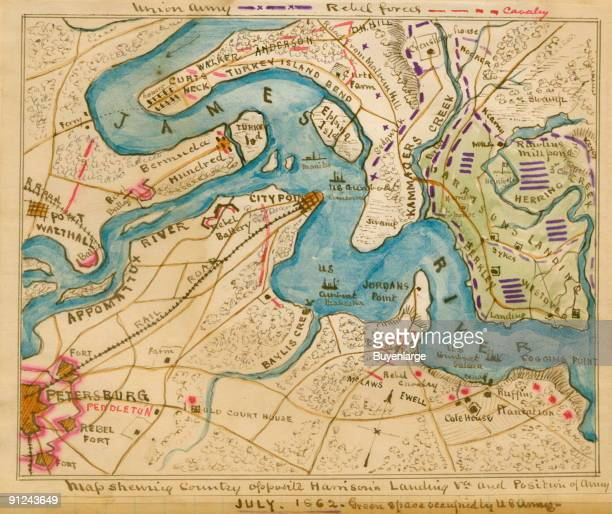 Union Army positions around Harrison's Landing in Charles City County Va on July 9th with details of the terrain and locations of headquarters for...