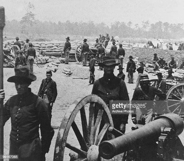 Union artillery at Fort Sumner near Susan Clark's House Fair Oaks Virginia on 1 June 1862 Part of a greater battle known as the Battle of Seven Pines...