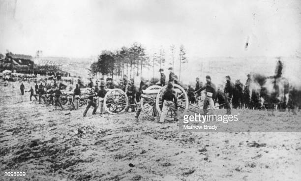 A Union artillery battery in action