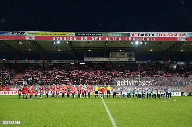 Union Berlin and Austria Salzburg enter the pitch during the game between Union Berlin and Austria Salzburg on January 30 2016 in Berlin Germany