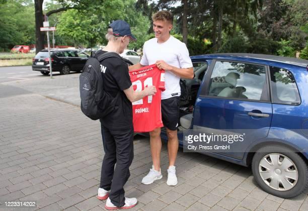 Union Berlin fan Achim and Grischa Proemel of 1.FC Union Berlin before the Final Press Conference on June 28, 2020 in Berlin, Germany.