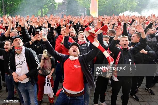 Union Berlin fans celebrate outside the stadium following the Bundesliga match between 1. FC Union Berlin and RB Leipzig at Stadion An der Alten...