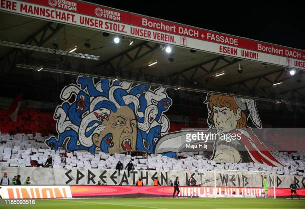 Union Berlin fans show their support prior to the Bundesliga match between 1. FC Union Berlin and Hertha BSC at Stadion An der Alten Foersterei on...