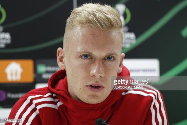 Union Berlin German defender Timo Baumgartl speaks during a press conference on the eve of the UEFA Conference League group E football match between...