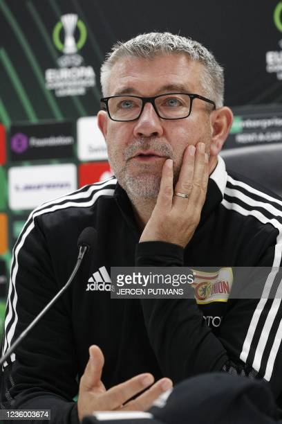 Union Berlin head coach Urs Fischer speaks during a press conference on the eve of the UEFA Conference League group E football match between...