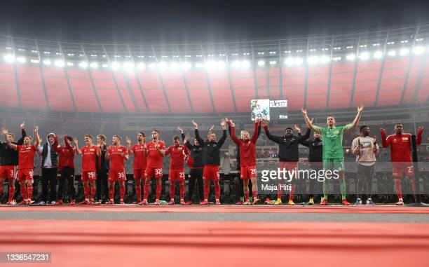 Union Berlin players celebrate after the UEFA Conference League Play-Offs Leg Two match between 1. FC Union Berlin and Kuopion PS at Olympiastadion...
