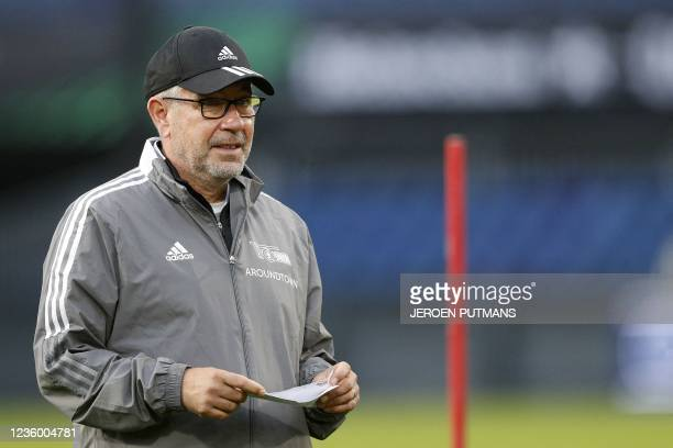 Union Berlin Swiss Headcoach Urs Fischer attends a training session on October 20 at De Kuip stadium in Rotterdam, on the eve of the UEFA Conference...