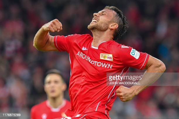 Union Berlin's Danish forward Marcus Ingvartsen celebrates scoring the 20 goal during the German first division Bundesliga football match FC Union...