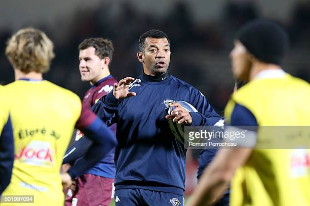 Union Bordeaux Begles coach emle Ntamack gestures before the European Rugby Champions Cup match between Union Bordeaux Begles and Ospreys at Stade...