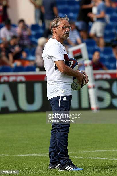 Union Bordeaux Begles' coach Jacques Brunel looks on before the French Top 14 union match between Unon Bordeaux Begles and Montpellier at stade...