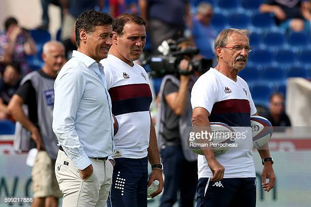 Union Bordeaux Begles' President Laurent Marti head coach Raphael Ibanez and coach Jacques Brunel look on before the French Top 14 union match...
