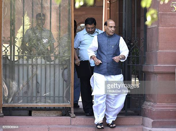 Union Cabinet Home Minister Rajnath Singh coming out after attending the Cabinet Meeting at PM Office South Block on April 13 2016 in New Delhi India...